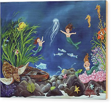 Wood Print featuring the painting Mermaid Recess by Carol Sweetwood