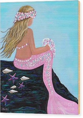Wood Print featuring the painting Mermaid Sweetie by Leslie Allen