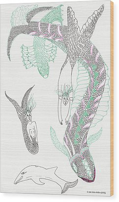 Mermaids And Sea Dragons Wood Print