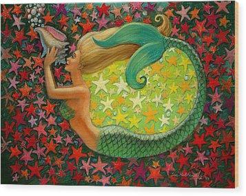Mermaid's Circle Wood Print by Sue Halstenberg