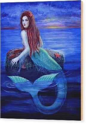 Mermaid's Dinner Wood Print by Sue Halstenberg