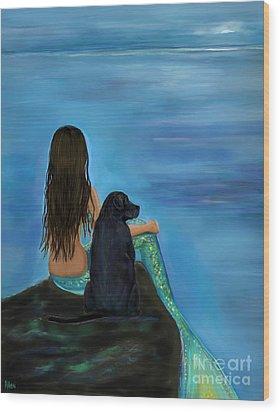 Wood Print featuring the painting Mermaids Loyal Bud by Leslie Allen