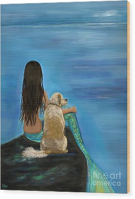Wood Print featuring the painting Mermaids Loyal Buddy by Leslie Allen