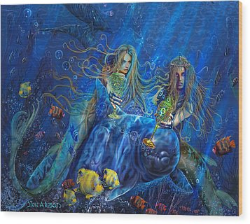 Wood Print featuring the painting Mermaids Of Acqualainia by Steve Roberts