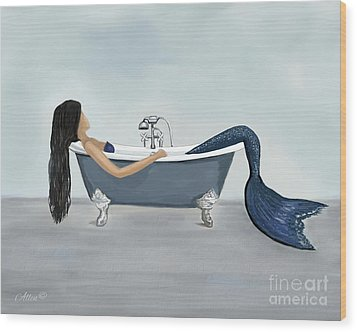 Wood Print featuring the painting Mermaids Relaxing Retreat by Leslie Allen