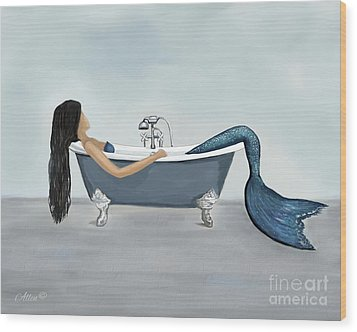 Wood Print featuring the painting Mermaids Relaxing Room by Leslie Allen
