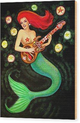 Mermaids Rock Tiki Guitar Wood Print by Sue Halstenberg