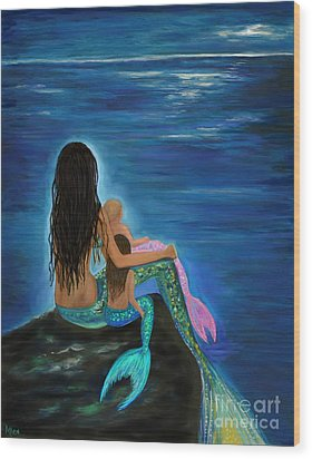 Wood Print featuring the painting Mermaids Sweet Little Girls by Leslie Allen