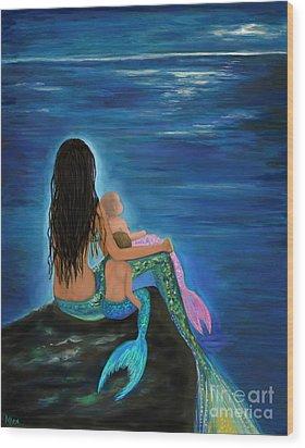 Wood Print featuring the painting Mermaids Sweet Little Ones by Leslie Allen