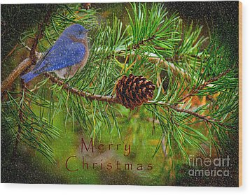Merry Christmas Card With Bluebird Wood Print