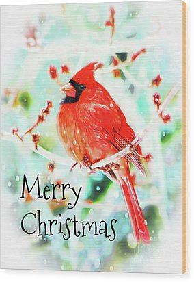 Merry Christmas Cardinal Wood Print