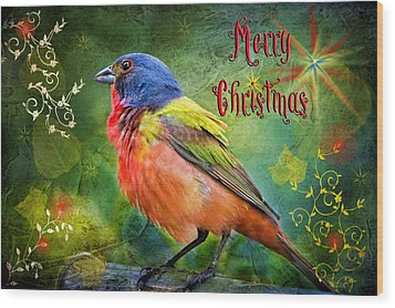 Merry Christmas Painted Bunting Wood Print by Bonnie Barry
