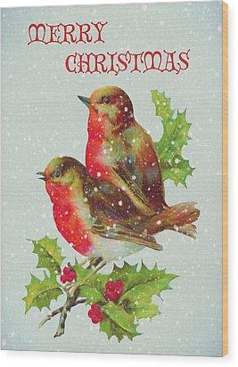 Merry Christmas Snowy Bird Couple Wood Print by Sandi OReilly
