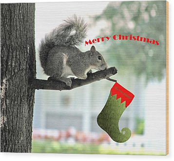 Merry Christmas To All Wood Print by Adele Moscaritolo