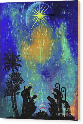 Wood Print featuring the painting  Merry Christmas To All. by Andrzej Szczerski