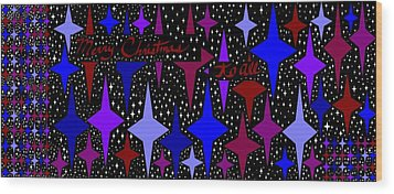 Merry Christmas To All, Starry, Starry Night Wood Print by Linda Velasquez