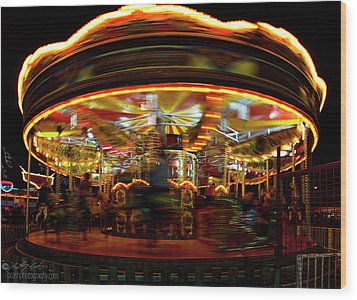 Merry-go-round Wood Print by Beverly Cash