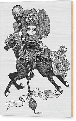 Merry-go-round Girl Wood Print
