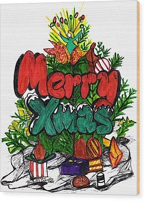 Merry Xmas Wood Print
