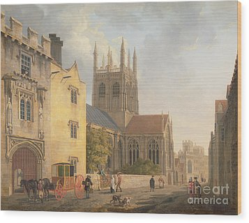 Merton College - Oxford Wood Print by Michael Rooker