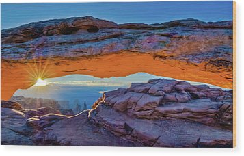 Mesa Arch At Sunrise Wood Print by Harry Strharsky