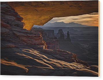Wood Print featuring the photograph Mesa Arch Glow by Jaki Miller