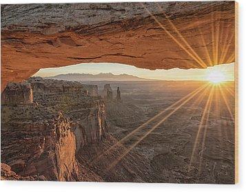 Mesa Arch Sunrise 4 - Canyonlands National Park - Moab Utah Wood Print by Brian Harig