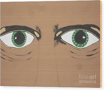 Wood Print featuring the painting Mesmerized Eyes by Jeffrey Koss