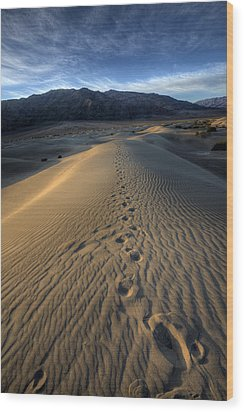 Mesquite Flats Footsteps Wood Print by Peter Tellone