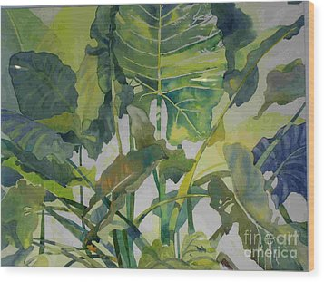 Wood Print featuring the painting Mess Of Greens by Elizabeth Carr