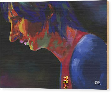 Messi Wood Print by Carvil