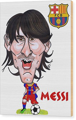 Messi Wood Print by Tom Glover