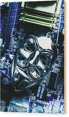 Metal Anonymous Mask On Motherboard Wood Print by Jorgo Photography - Wall Art Gallery