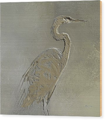 Metal Egret 3 Wood Print