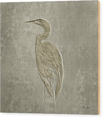 Metal Egret 4 Wood Print