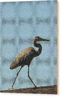 Wood Print featuring the photograph Metal Heron by Ellen O'Reilly
