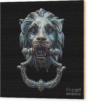 Wood Print featuring the photograph Metal Lion Head Doorknocker Isolated Black by Antony McAulay