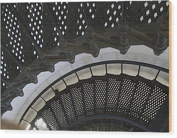 Metal Stair Case Wood Print by Linda Geiger