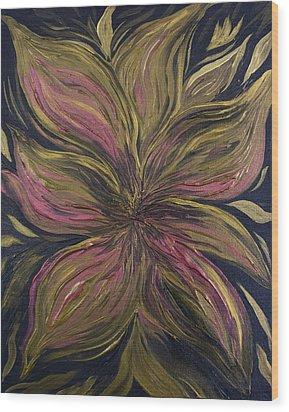 Metallic Flower Wood Print