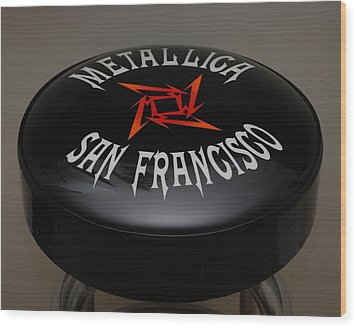 Metallica Bar Stool Wood Print by Rob Hans
