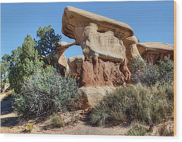 Wood Print featuring the photograph Metate Arch - Devils Garden by Nikolyn McDonald