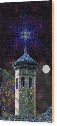 Wood Print featuring the digital art Metatron Nocturnal by Iowan Stone-Flowers