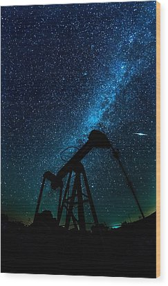 Meteor Above Grasshopper Wood Print