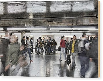 Wood Print featuring the photograph Metro Rush by Kim Wilson