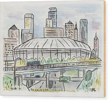 Metrodome Wood Print by Matt Gaudian