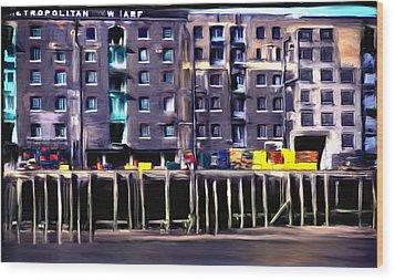 Metropolitan Wharf Wood Print by Jim Proctor