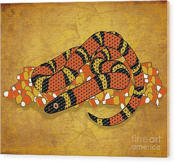 Mexican Candy Corn Snake Wood Print by Laura Brightwood