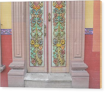 Mexican Doorway 3 Wood Print by Francine Gourguechon