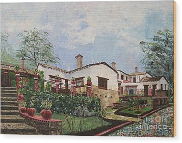 Mexican Hacienda After The Rain Wood Print by Judith Espinoza