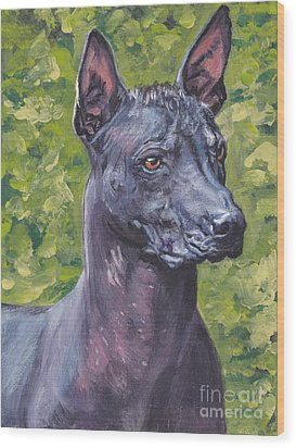 Wood Print featuring the painting Mexican Hairless Dog Standard Xolo by Lee Ann Shepard